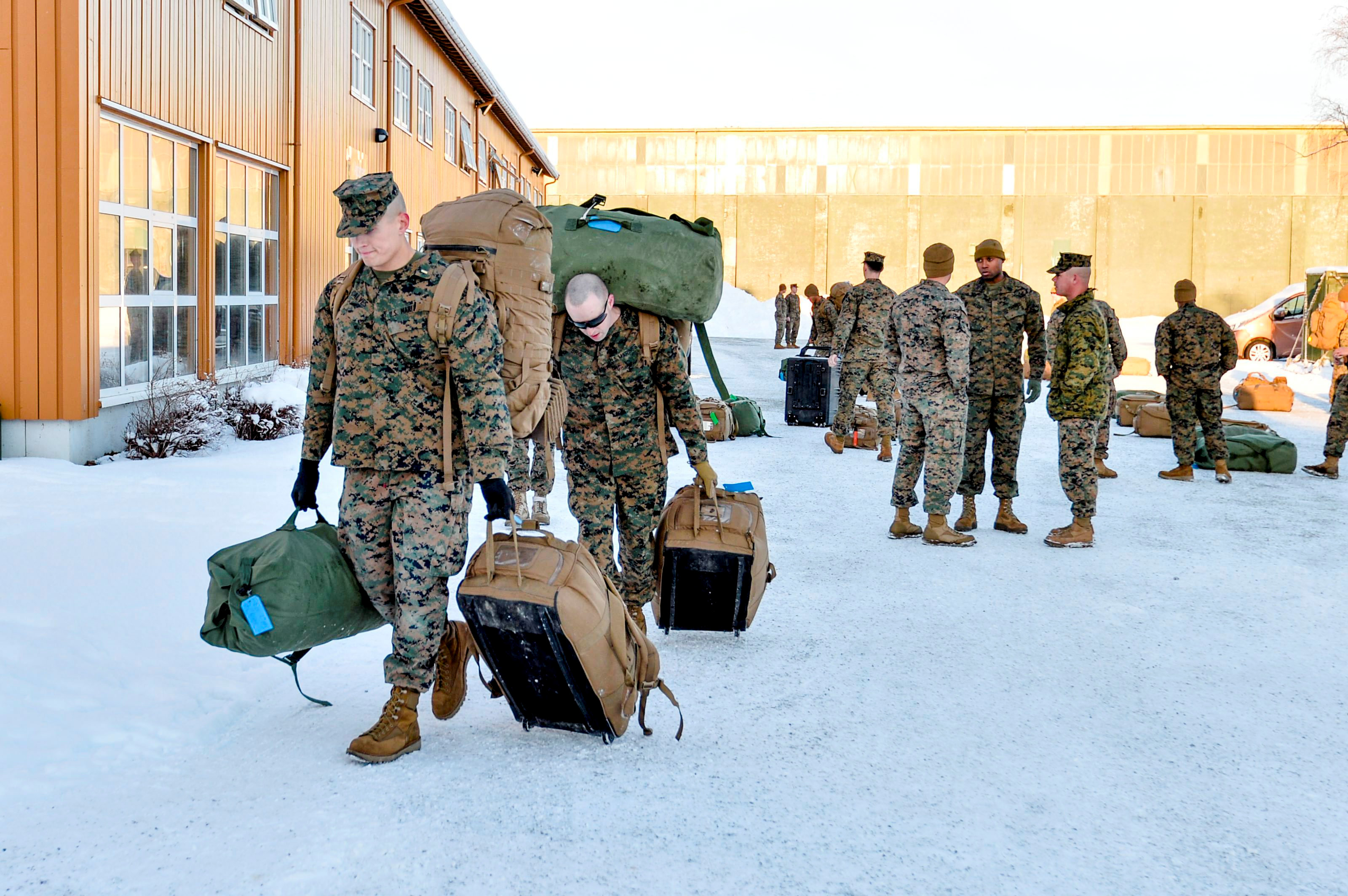 U.S. Marines, who are to attend a six-month training to learn about winter warfare, arrive in Stjordal, Norway January 16, 2017. NTB Scanpix/Ned Alley/via REUTERS ATTENTION EDITORS - THIS IMAGE WAS PROVIDED BY A THIRD PARTY. FOR EDITORIAL USE ONLY. NOT FOR SALE FOR MARKETING OR ADVERTISING CAMPAIGNS. THIS PICTURE IS DISTRIBUTED EXACTLY AS RECEIVED BY REUTERS, AS A SERVICE TO CLIENTS. NORWAY OUT. NO COMMERCIAL OR EDITORIAL SALES IN NORWAY. NO COMMERCIAL SALES.